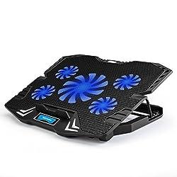 Tekhome Laptop Cooling Pad, Beste Gaming-kühler Für Spielkonsolen Und Notebooks Bis Zu 15.6 Zoll, Art Und Weise Blaues Licht, Superwindgeschwindigkeit W 5 Fans, 5 Einstellbare Heights, 2 Usb-ports. (Ltc002)