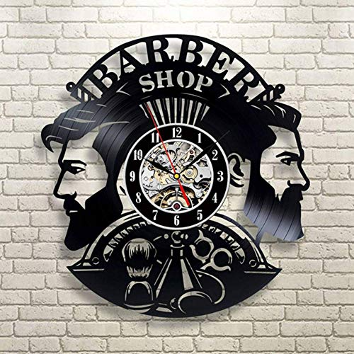 DMRDZL Relojes De Pared Barber Shop Reloj de Pared Moderno Barbershop Decoración Vinyl Record Reloj de Pared Colgante Peluquero Reloj de Pared para peluquería