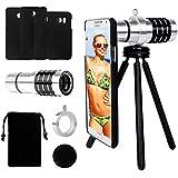 Samsung Handy Objektiv Lens Set Yarrashop 12X Samsung Aluminium Teleobjektiv + Universal Phone Halter + Mini Stativ+ Phone Samttasche + Reinigungstuch + Schutz-Fall für Samsung GALAXY S6/S6 edge S7/ S7 edge