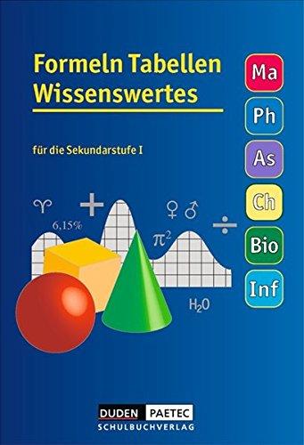 Formeln Tabellen Wissenswertes - Mathematik - Physik - Astronomie - Chemie - Biologie - Informatik: Formelsammlung: Kartoniert (Chemische Tabelle)
