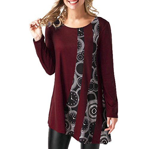 Longra Damen Langarmshirts Rundhalsshirt im Lagen-Look Damen Patchwork Print-Shirts Zipfelshirts aus Baumwoll-Stretch Tunikashirts Blusenshirt Shirttop Oversize-Shirts (Wine Red, XL) (Print Shirt Cotton Floral)
