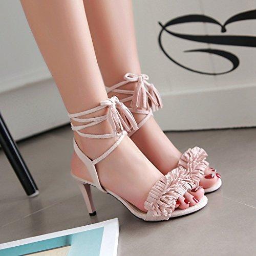 YE Damen Offene High Heels Stiletto Sandalen mit Schnürung und Fransen Schuhe Rosa