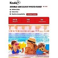 KOALA Papel fotográfico de doble cara brillante para inyección de tinta A4, 210x297 mm, 100 hojas, 240 g/m²