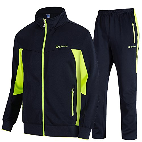 donhobo Herren Jogginganzug Trainingsanzug Sportanzug Fußball Sporthose Hoodie Hose für Gym Warm Tracksuit(02Grün,XL)