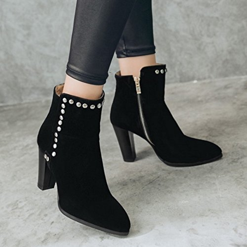 TAOFFEN Femmes Mode Bottes Fermeture Eclair Black
