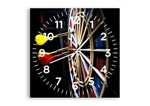 Wanduhr - Quadrat - Glasuhr - Breite: 40cm, Höhe: 40cm - Bildnummer 2199 - Schleichendes Uhrwerk - lautlos - zum Aufhängen bereit - Kunstdruck - C4AC40x40-2199