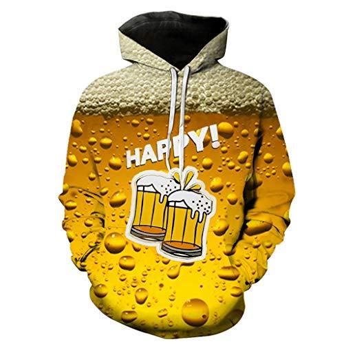 er Lebensecht 3D Grafik Hoodie mit Kängurutasche Pullover mit Kapuze Sweat Hood Piebo Unisex Bier Druck Oktoberfest Sweatshirt Langarm Top Jumper Oversize Kapuzenjacke M-3XL ()