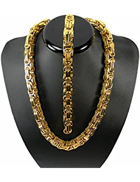 Luxus Königskette Gold Farbe BRUTAL MASSIV Panzerkette Edelstahl Kette Punk Rock Tribal Hip Hop Funk Rocker Collier...