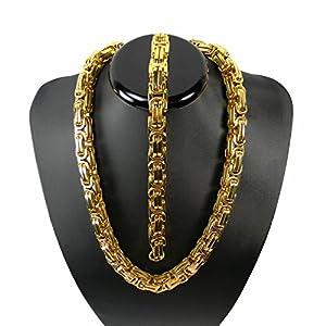 Luxus Königskette Gold Farbe BRUTAL MASSIV Panzerkette Edelstahl Kette Punk Rock Tribal Hip Hop Funk Rocker Collier Biker Halskette 61 cm + ARMBAND 23cm Breite 10 mm x 10 mm kk11-2