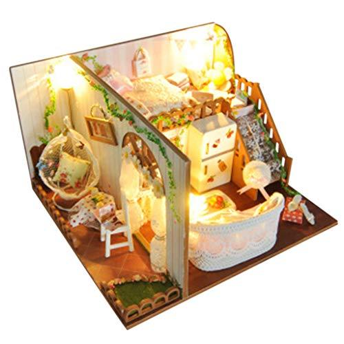 Miniatur-50 Licht-set (Longra Spielzeug Puppenhaus Miniatur Haus DIY House mit LED Licht, Puppenhaus Bausatz Holz Modell Set Creative Mini Studio Room Geburtstagsgeschenke für Mädchen)