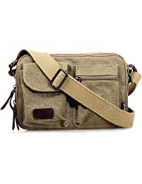 Generic Brown : Casual Men' S Messenger Bags Vintage Male Crossbody Military Bags Canvas Men Travel Satchel Shoulder...