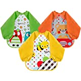 Lictin 3 pcs babero con mangas EVA Impermeable Unisex babero de manga larga para bebés 6 meses a 3 años niños pequeños (diseño de oso, abeja, búho)