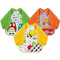 Idea Regalo - Lictin Set di 3 bavaglino a manica lunga bavaglino impermeabile EVA unisex per bambini piccoli da 6 mesi a 3 anni (orso, ape, gufo design)