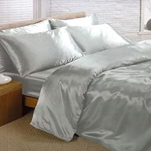 Silver Satin Double Duvet Cover, Fitted Sheet and 4 Pillowcase Bedding Set