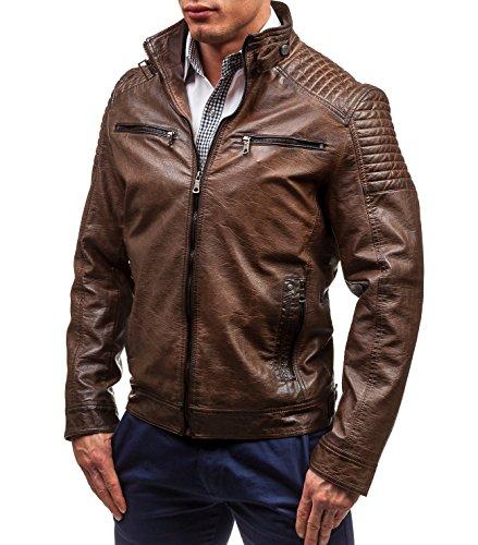BOLF - Veste - Faux cuir - Fermeture éclair – ISSHO 1773A – Homme Marron