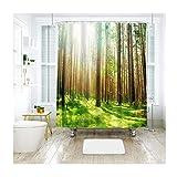 Bishilin Polyester-Stoff 3D Duschvorhang Vintage Sonnigen Dschungel und Grüner Rasen 3D Lustiger Duschvorhang Vintage 120x180 cm