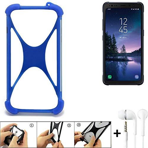 K-S-Trade Handyhülle für Samsung Galaxy S8 Active Bumper Schutzhülle Silikon Schutz Hülle Cover Case Silikoncase Silikonbumper TPU Softcase Smartphone, Blau (1x), Headphones