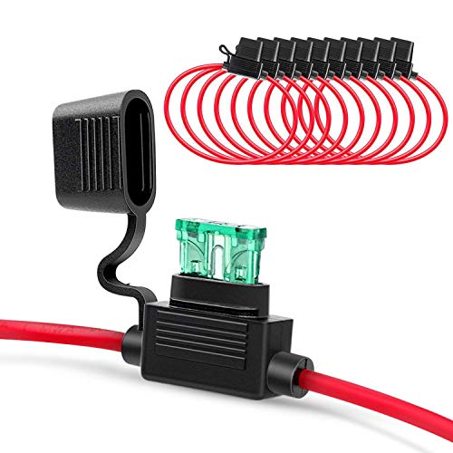Nrpfell Ni-Fh01 Inline Sicherungshalter 14Awg Kabelbaum ATC/ATO 30Amp Flachsicherung Automotive Sicherungshalter - 10Er Pack - Atc-inline-sicherungshalter