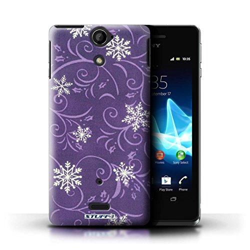 Kobalt® Imprimé Etui / Coque pour Sony Xperia V/LT25i / Pourpre conception / Série Motif flocon de neige Pourpre