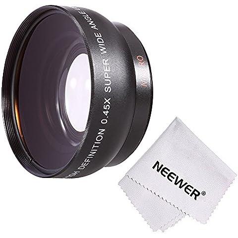 Neewer® 52MM 0.45 x Profesional HD Objetivo lente gran angular Wide Angle Lens (w / porción Macro) para NIKON DSLR Cámaras, como NIKON D7100 D7000 D5200 D5100 D5000 D3300 D3200 D3000 D90 D80 DSLR Cámaras + microfibra paño de