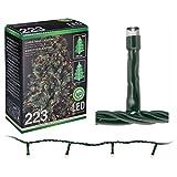Easy Go LED Lichterkette für Bäume bis 210 cm 223 Leds mit 7 horizontalen Strängen innen/außen warmweiß Kabelfarbe grün
