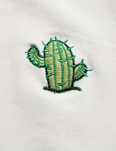 ROMWE Damen Top mit Hübschen Kaktus Stickerein T-Shirt Kurzarm Shirt Weiß