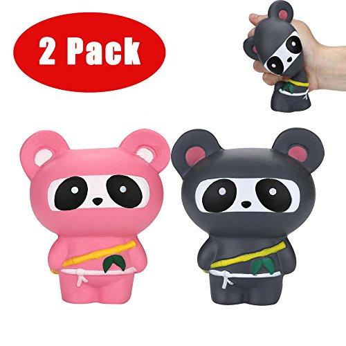 Altsommer Weihnachten Nett Ninja Panda Muster Stressabbau Toys für Kinder Gescheken,Anti-Stress-Spielzeug,Langsame Steigende Spielzeuge mit Duft für Erwachsene, 5,7 x 4,3 Zoll (A) Ninja-mesh