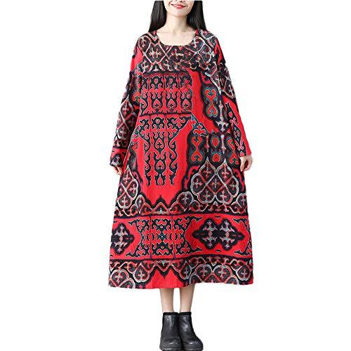 NPRADLA 2018 Herbst Winter Damen Kleid Plus Größe Folk-Custom lose Lange Ärmel Druck Baumwolle und Leinen (80er Jahre Kostüm Plus Größe)