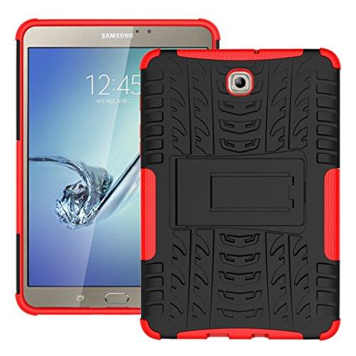 g Galaxy Tab S2 8.0 / T710 / T715 Tasche, Soft Flexible TPU + Hart PC Hybrid Schutzhülle Bumper Anti-Rutsch Hülle Stehen Back Schutz- Schale Tasche Cover [SCHWARZ + ROT] ()