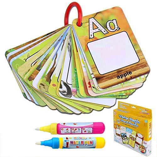 BBLIKE Tablero de 26 cartas de agua para colorear Doodle 2 Dibujo juguete magia de agua Plumas para niños pequeños