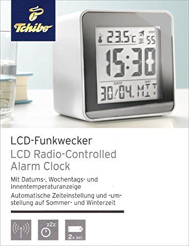 Tchibo TCM LCD-Funkwecker, weiß