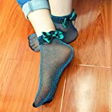 Aubess Schleife Knoten, Socken, Damen, Netzstoff-Spitze, Socken, 1Paar, grün, 1*1*1cm