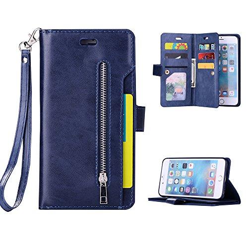 iphone6G plus/iphone6S plus Hülle Badalink Handyhülle Minzgrün Leder PU Case Cover Flip Case Schutzhülle Kartensteckplätzen und Ständer Handytasche Blau