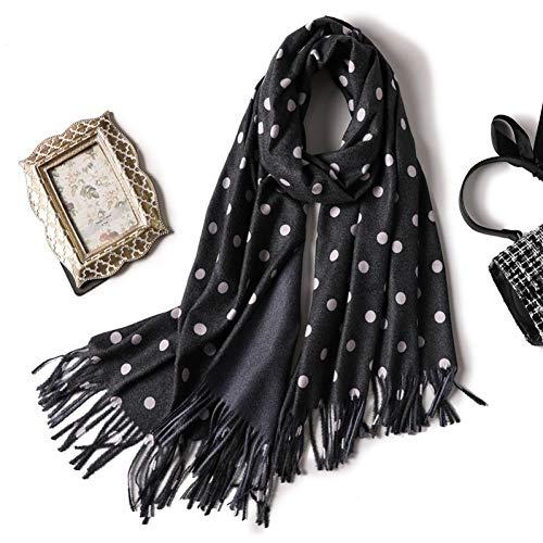 GSDWJ Sciarpa Invernale da Donna per Scialli da Donna Sciarpe Pois Collo Caldo Stole Feinili 200X70Cm black