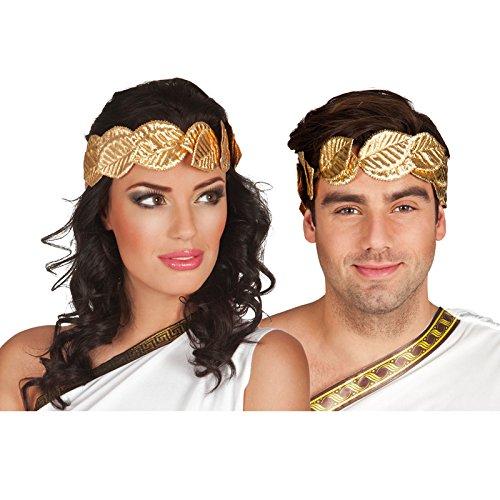 PARTY DISCOUNT ® Lorbeerkranz, Gold, mit - Lorbeer Kranz Kostüm Kopfbedeckung