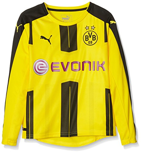 PUMA Kinder Trikot BVB Long Sleeve Home Replica Shirt with Sponsor Logo, cyber yellow-black, 164, 749829 01 (Langarm-shirt Black Boys)