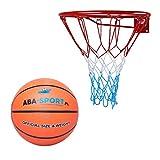 Kimet Basketballkorb mit Ball Outdoor Kinder | Basketball Korb fürs Zimmer | Ring mit Netz | Set inklusive Basketball | Durchmesser 45cm
