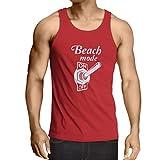 Weste Strand-Modus auf Unisex T-Shirt (X-Large Rot Weiß)