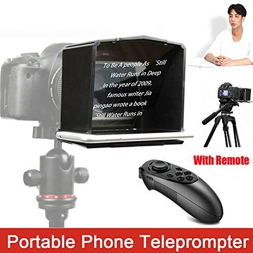 Portátil Teléfono Teleprompter,Teleprompter con 8 Lente Adaptador  Anillos,Ajustable Velocidad Delantero Talla Color,para Entrevista Discurso  TV Show