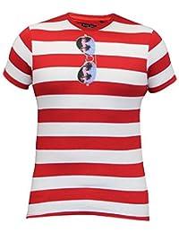 T-shirt Pour Hommes Brave Soul À Rayures Manche Courte Lunettes De Soleil Palmier Haut Été