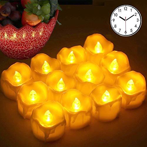 LED Kerzen, Led Teelichter 12pcs LED Flammenlose Kerzen mit Timerfunktion Batterien CR2032, Flackern Elektrische Kerze Lichter Dekoration für Valentinstag Ostern Hochzeit(Flicker Gelb)