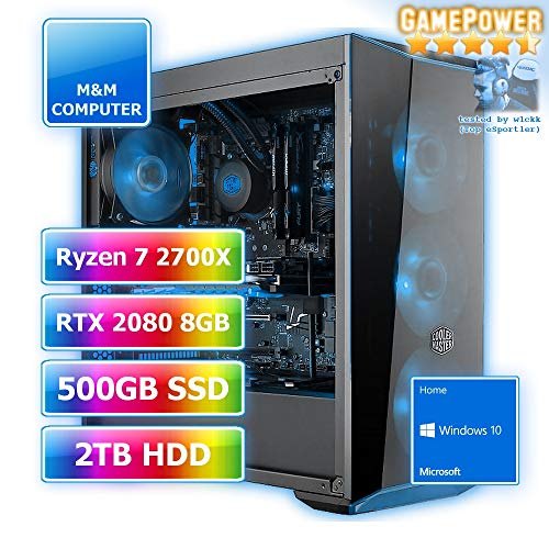 Gamer Wasserkühlung RGB, AMD Ryzen 7 2700X CPU AM4, GeForce RTX2080-8GB Gaming, 480GB SSD, 2000GB HDD, 16GB DDR4 RAM, Gigabyte Aorus Mainboard, Windows 10 Home ()