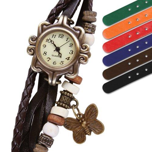 Jago Armbanduhr geflochtene Kunstleder Retro-Uhr Modeuhr in verschiedenen Farben und Sets