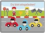 Einladungskarten zum Kindergeburtstag für Rennfahrer (8 Stück) Autos Kart Auto Jungen Mädchen Jungs Autorennen Einladung Geburtstagseinladung Kinder Buben Autos