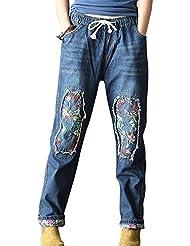 SaiDeng Mujer Baggy Bordado Parche Drawstring Distressed Lavado Pantalones Vaqueros XL