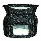 Trixie 2872 Weidenkorb mit Liegedach und 2 Kissen, 54 x 43 x 37 cm, schwarz