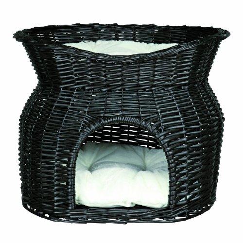 *Trixie 2872 Weidenkorb mit Liegedach und 2 Kissen, 54 x 43 x 37 cm, schwarz*
