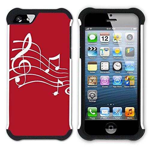 Graphic4You Musik Noten Muster Design Hart + Weiche Kratzfeste Hülle Case Schale Tasche Schutzhülle für Apple iPhone SE / 5 / 5S (Schwarz) Rot