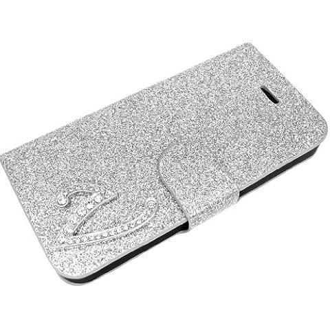 Exklusive-Cad - Custodia con linguetta magnetica per LG Optimus L5 E610, con lettera I in rilievo, colore: Argento