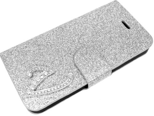 Exclusive-Cad SAM-S4-MINI-Glamour-V-Argento Exclusive Cad-Samsung Galaxy S4 MINI Glamour Glitter Strass Flip Cover con Chiusura Magnetica - Book V in Argento